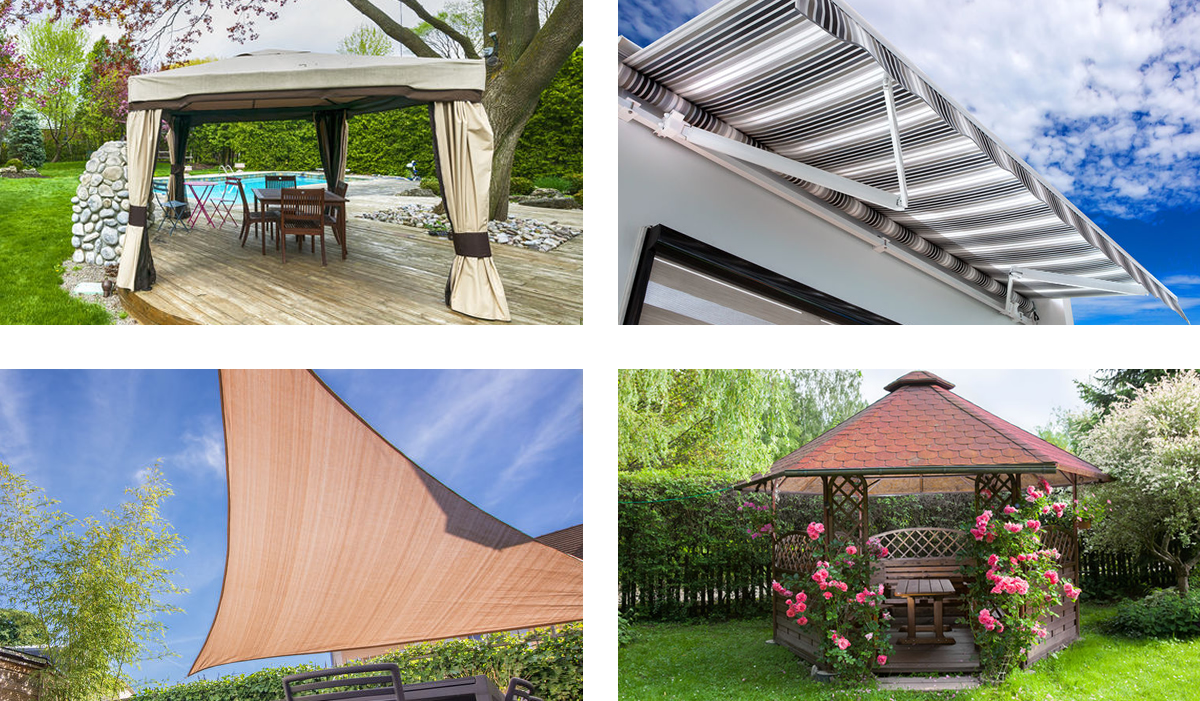 Patio covers: gazebo, canopy, shade sail, awning