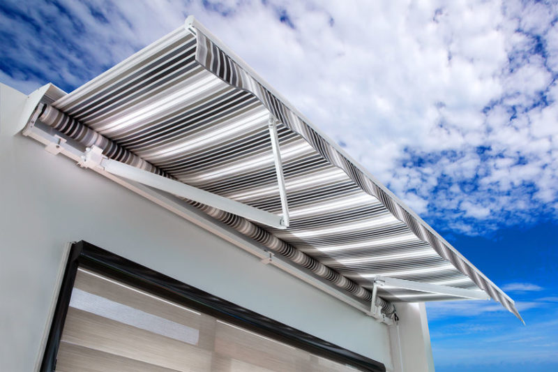 Canvas awning with stripes